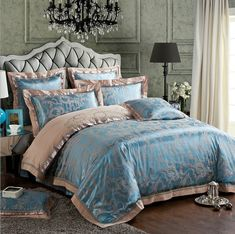Cheap duvet cover set, Buy Quality bedding set directly from China bedding set Suppliers: HOT SALE ! Luxury Imitated Silk Jacquard Weave Fabric Duvet Cover Set Bedding Set in Queen/King Size, camel/sky blue Silk Bedding, Cotton Bedding Sets, Green Bedding, Queen Bedding Sets, Duvet Bedding, King Comforter, Sheets Bedding, Cotton Sheets, Cotton Duvet