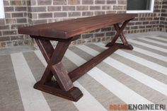 Easy to follow, step-by-step, DIY X-Brace Bench plans detailing exactly how to build and X-brace bench for under $20!