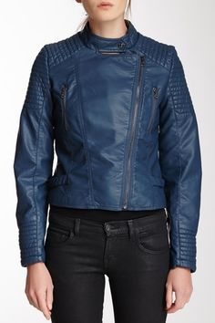 Asymmetrical Zip Faux Leather Moto Jacket - love the colour