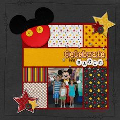 grid of papers, fun mickey embellishment