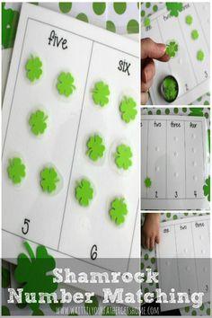 Shamrock Number Matching Game via www.waittilyourfathergetshome.com #numbermatching #preschool #shamrock #numbers #kids