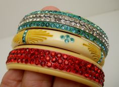 ART DECO 1920'S FLAPPER CELLULOID RHINESTONE SPARKLE BANGLE BRACELETS