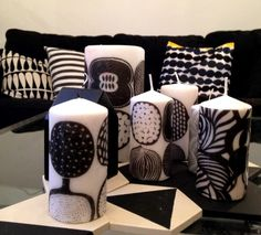 HELhome: DIY Marimekko-kynttilät Marimekko, Diy And Crafts, Arts And Crafts, Nordic Art, Candels, Diy Candles, Christmas Design, Projects To Try, Creative
