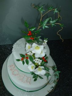 Student Cake - Stacked Cake with Run-outs, Lettering & a Winter Flower Spray