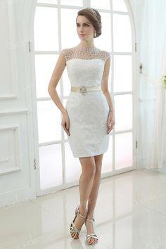 Illusion Tulle High Neck with Pearls Short Sheath Wedding Dress - Gudeer.com