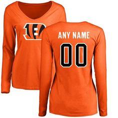 Women Cincinnati Bengals NFL Pro Line Orange Custom Name and Number Logo  Slim Fit Long Sleeve 922cc8c95