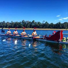 """rowingrelated on Instagram: """"Ok, that's impressive #Repost @rowingnsw ・・・ Newcastle Grammar School showing us how it's done! Santa and her reindeer are ready to come down the course, and don't forget the presents! #rowingnsw #reinderregatta #rowing #santa #reindeer #christmas"""""""