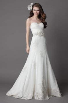 A-line sweetheart chapel train  glamorous net with appliques wedding dress