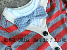 Little Boy's Cardigan Set  Red/Grey Bow Tie Set  by Bella406, $40.00