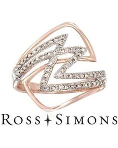 .32 ct. t.w. Diamond Zigzag Ring in 14kt Rose Gold. Size 6
