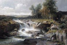 An Angler By A Waterfall - Edward Bergh