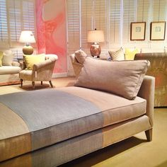 "Color Blocked Linen Daybed by ​CR Laine.  Perfect example of how to update a classic piece! Simple lines, beautiful fabrics and the unexpected twist of a pale blue color block ""stripe"". The cushion fits a twin size bedding, making this an easy small space guest solution. CR Laine 310 N. Hamilton Court, High Point"