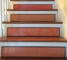 Fleur De Lis / Stair Riser / Alternative to Stair Decals and Painted Staircases, Painted Stairs, Decoration Baroque, Basement Makeover, Stair Risers, Stickers, Stairways, Home Projects, My House