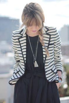 Simple dress with a punchy blazer (just like our Striped Blazer - shoptwodots.com)