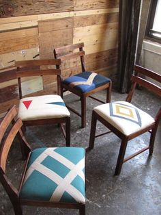 love the idea of mixing & matching fabrics on chairs