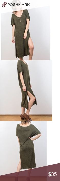 Mossy Ridge Slub Fabric Tee Dress Super soft slub fabric t-shirt midi dress in a mossy green color with a sublte burn out coloration, side slits, short-sleeved V-neck. BNWT, please no trades or lowball offers ✨ pictures are my own from my website of the actual address this one is perfect worn casually as is or belted at the waist Dresses Midi
