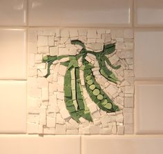 "Custom Kitchen Backsplash Mosaic Insert.  ""Peas"", 6"" x 6"", material:  smalti.  By Patty Franklin mosaics www.pattyfranklinmosaics.com"