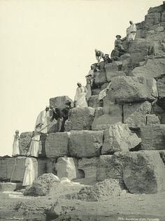 Back when you were allowed to climb the pyramids! Old vintage photos of egypt 1870-1875