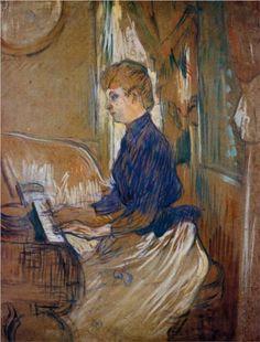 At the Piano Madame Juliette Pascal in the Salon of the Chateau de Malrome - Henri de Toulouse-Lautrec