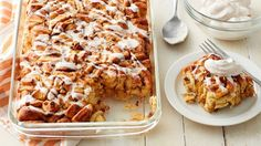 Pumpkin pie for breakfast? Yes, please! Cinnamon roll pieces baked in a pumpkin-spiced custard and topped with icing, pecans and cinnamon whipped cream--soon to become a fall favorite for breakfast or brunch.
