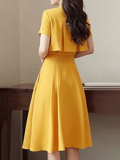Stylewe Midi Dress A-line Daytime Dress Short Sleeve Solid Dress