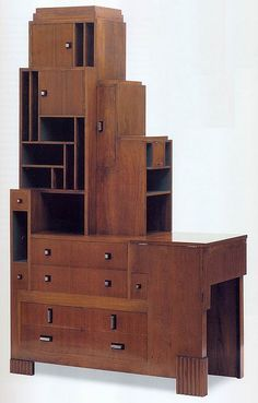 """Paul T. Frankl (Austrian), Desk and Bookcase. Walnut, paint and brass handles. American, c.1928.   Scanned from """"Art Deco 1910-1939"""" edited by Charlotte Benton, Tim Benton and Chislaine Wood."""