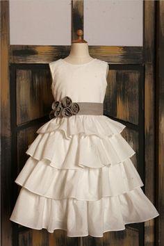 Ivory Cotton Ruffle Cupcake Flower Girl Dress with by deepado, $44.99