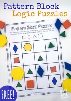 This set of interactive logic puzzles will have kids begging for more! Easy to use, these pattern block puzzles help kids think logically, while learning about shapes. Math Logic Puzzles, Math Games, Math Activities, Math Math, Sudoku Puzzles, Logic Games For Kids, Printable Crossword Puzzles, Maths Fun, Ks2 Maths