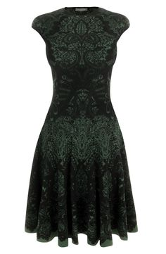 Emerald Victorian Puckering Lace Jacquard A-Line Dress