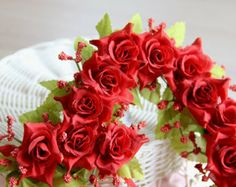 red roses and greenery -