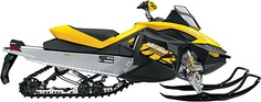 Tear it up on the Ski-Doo MX Z ($10,200) is available with one of three liquid-cooled engines — the 600 H.O. E-TEC, 800R Power T.E.K. or 1200 4-TEC — and packs in a whole ton of special equipment you and us have never heard of. Stuff like Kayaba HPG Clicker Take-Apart aluminum front and rear shocks, a 1.25-inch lug RipSaw track, Pilot 5.7 skis, and a REV-XP racing seat.