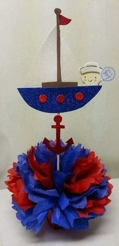 62 Ideas Baby Shower Decorations For Boys Nautical Center Pieces Sailor Birthday, Sailor Party, Sailor Theme, Fiesta Baby Shower, Baby Shower Parties, Baby Shower Themes, Shower Ideas, Shower Bebe, Baby Boy Shower