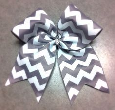 Gray Chevron Cheer Bow by Girlythings29 on Etsy, $8.49