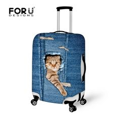 Elastic Luggage Cover Cute Dog With Sunglasses Suitcase Protector Travel Creative Fits 26-28 Inch