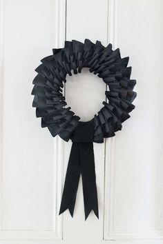Black Crepe Paper Wreath