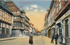 Historische Postkarte - Breite Straße in Wernigerode.