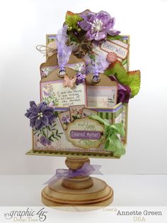 Try this gorgeous Time to Flourish Mother's Day ATC Book Box with a great tutorial by Annette Green! #graphic45