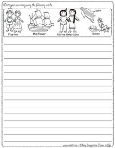 Write Your Own Story.... Thanksgiving Theme ~ Pilgrims ~ Turkey ~ Mayflower ~ Native Americans ~ Thanksgiving ~ Story Starters ~ Story Stones ~ Writing Prompts ~ Drawing Prompts ~ Preschool ~ Kindergarten ~ 1st Grade ~ 2nd Grade ~ 3rd Grade ~ Homeschool ~ Creativity & Imagination ~ First Grade - Second Grade - Third Grade - Sentence Starters - Story Prompts - story maps www.crekid.com