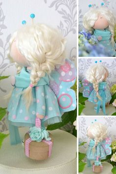 Butterfly doll Handmade doll Interior doll Textile doll Tilda doll Turquise doll…