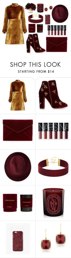 """velvet dreams"" by ballereyna ❤ liked on Polyvore featuring A.L.C., Aquazzura, Rebecca Minkoff, Redopin, Missguided, Anne Sisteron, Fall, gold, velvet and marron"