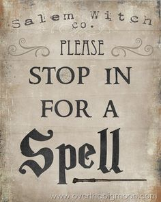 Please Stop in for Spell – Free Halloween Printable