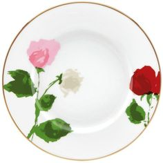 kate spade new york Rose Park 9 Accent Plate (3,080 INR) ❤ liked on Polyvore featuring home, kitchen & dining, dinnerware, multi, rose china set, rose dinnerware, kate spade china, kate spade fine china and kate spade dinnerware
