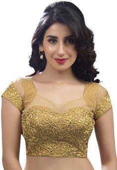 89075d2dfd8670 Beige Zari Embroidered #Blouse Designer Blouse Patterns, Saree Blouse  Patterns, Sari Blouse,
