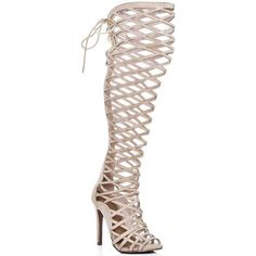 CAGED Lace Up High Heel Stiletto Gladiator Sandals Shoes - Cream Suede Style. Make a strong style statement in these lace up, heeled over the knee Gladiator sandals. Make it all about the shoes by teaming them with a below-the-knee skirt and loose fitting cami.. The heel height is 4.25 inches. Finished with peep toe, inner zip and lace up back. - Colour : yellow - Shoes Women £ 46.95