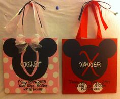 Mickey & Minnie birth info plaques. Personalized Homemade Nursery decor Wall letters kids door signs birth info plaques crib mobiles canvas art family name door hangers by Billie Landers Bamland Designs Charleston WV PayPal accepted. Mailing available. Come LIKE my page on Facebook http://m.facebook.com/BamlandDesignsCustomNurseryWallLettersMore