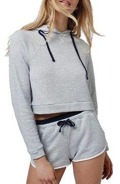 Stripe Crop Pullover Hoodie