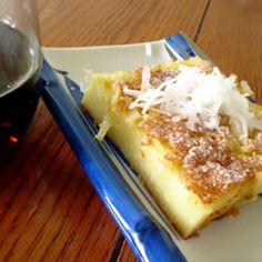 "Ono Butter Mochi ""Cake"".  So onolicious; from Hawaii, of course.  Mochiko is available at your local oriental food mart."
