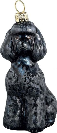 The Pet Set Black Poodle Glass Christmas Ornament - Handcrafted in Europe by Joy to the World Collectibles