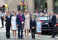 (From L) Prince Gabriel, Crown Princess Elisabeth, King Philippe of Belgium, Queen Mathilde of Belgium, Prince Emmanuel and Princess Eleonore pose after attending the Te Deum mass, on Belgian National Day at the Saint Michael and St Gudula Cathedral in Brussels