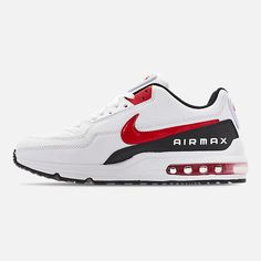 Left view of Men's Nike Air Max LTD 3 Casual Shoes in White/University Red/Black Black Nike Sneakers, Black Nikes, Air Max Sneakers, Nike Shoes, Mens Nike Air, Nike Men, Nike Air Max Ltd, Sneaker Heels, Baby Girl Shoes